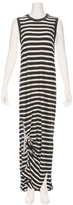 The Great Sleeveless Knotted Front Stripe Dress