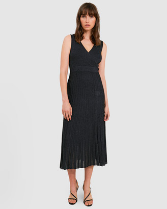 Forcast Rachel Pleated Lurex Knit Dress