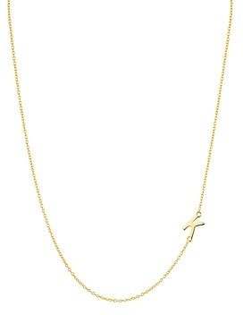 Argentovivo Asymmetrical Initial Necklace in 18K Gold-Plated Sterling Silver, 16