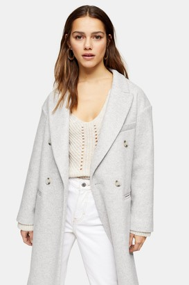 Topshop Womens Petite Grey Marl Double Breasted Coat - Grey Marl