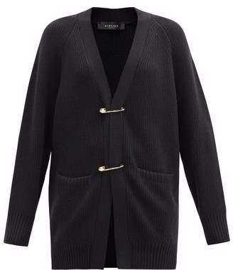 Versace Safety Pin Ribbed-knit Wool Cardigan - Black
