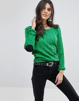 Glamorous Knitted Top With Elbow Patches