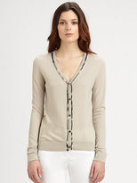 Burberry Check-Trimmed Cardigan
