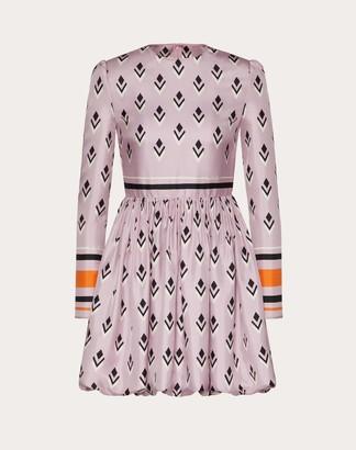 Valentino Printed Twill Dress Women Pink/multicolor Silk 100% 40