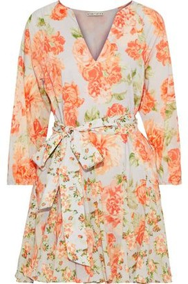 Alice + Olivia Pali Pleated Floral-print Cotton Mini Dress