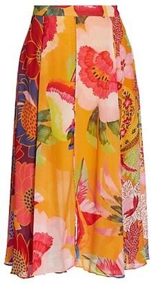 Farm Rio Mix Print Midi Skirt