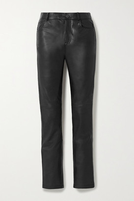 Deadwood Net Sustain Phoenix Leather Straight-leg Pants - Black