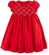 Luli & Me Cap-Sleeve Smocked Twill Dress, Red, Size 5-6X