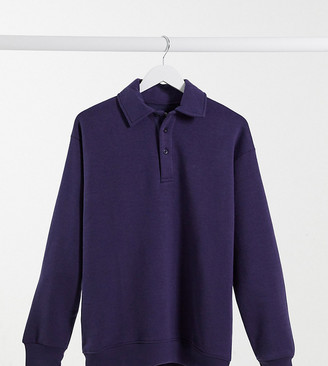Daisy Street oversized polo sweatshirt with button neck in navy