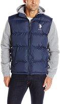 U.S. Polo Assn. Men's Puffer Vest with Fleece Sleeves and Hood