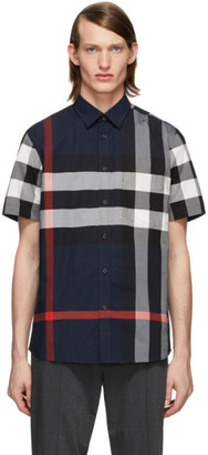 Burberry Navy Check Slim Short Sleeve Shirt