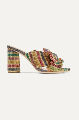 Loeffler Randall Penny Bow-embellished Striped Plisse-lame Mules - Gold
