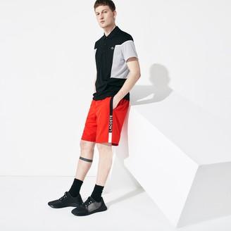Lacoste Men's SPORT Branded Contrast Striped Light Shorts