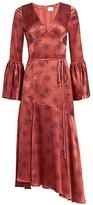 Cinq à Sept Kasha Firecracker Print Asymmetric Silk Dress