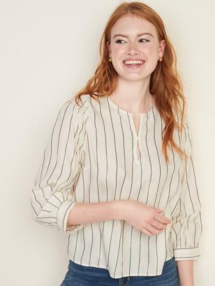 Old Navy Metallic-Stripe Smocked-Shoulder Top for Women