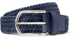 Tod's - 3.5 Blue Leather-trimmed Woven Cord Belt