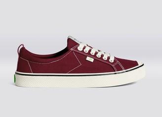 Cariuma OCA Low Stripe Burgundy Red Canvas Sneaker Women