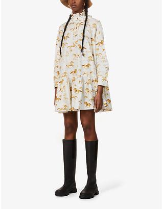Ganni Horse-print organic-cotton poplin mini dress