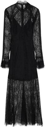 Nicholas Lattice-trimmed Chantilly Lace Midi Dress