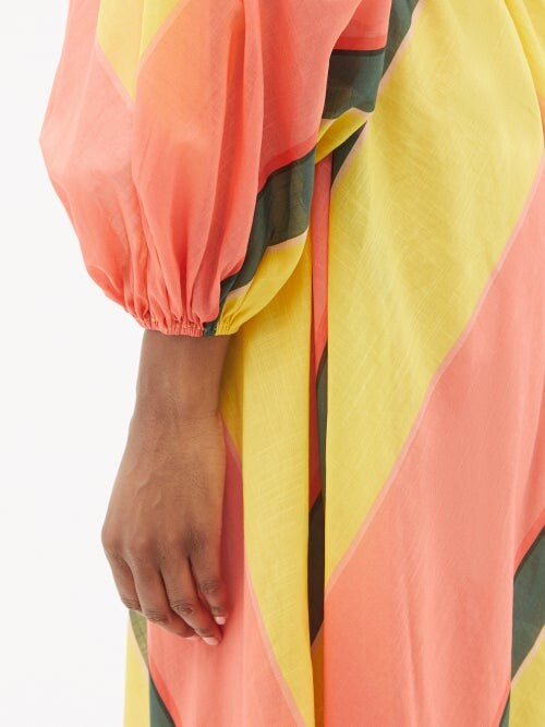 Thumbnail for your product : Zimmermann Estelle Chevron-stripe Cotton-voile Midi Dress - Pink Stripe