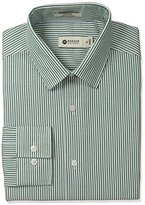 Haggar Men's Ticking Stripe Point Collar Fitted Long-Sleeve Dress Shirt