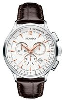Movado 42mm Circa Chronograph Watch with Crocodile Strap, White/Brown