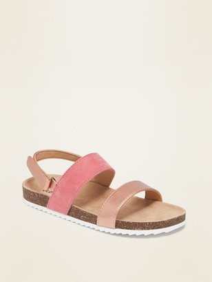 Old Navy Faux-Suede/Faux-Leather Color-Block Sandals for Girls