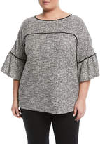 Calvin Klein Collection Tweed Bell-Sleeve Tee, Plus Size