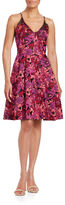 Badgley Mischka Floral Jacquard Fit-and-Flare Dress