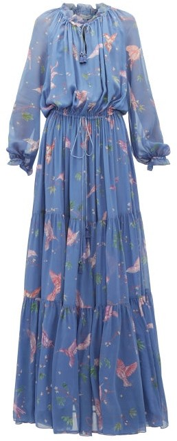 Altuzarra Currie Bird Print Tiered Chiffon Gown - Womens - Light Blue