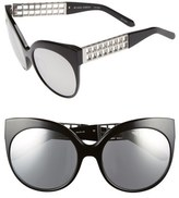 Linda Farrow 59mm Cat Eye 18 Karat White Gold Trim Sunglasses