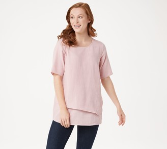 Joan Rivers Classics Collection Joan Rivers Crinkle Texture Short-Sleeve Top with Hem Detail