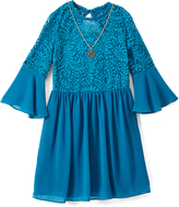 Amy Byer Teal Bell-Sleeve Lace-Accent A-Line Dress & Necklace - Girls