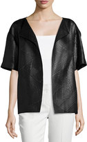 Lafayette 148 New York Georgette Printed Topper Jacket, Black