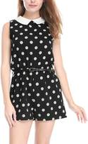Allegra K Women's Polka Dots Contrast Collar Sleeveless Romper w Belt XL