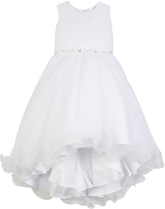 Joan Calabrese Diagonal Sheer Top Dress w/ Rhinestone Embellishment, Size 4-14