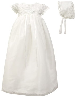 C.I. Castro & Co. Scalloped Lace Christening Gown & Bonnet Set