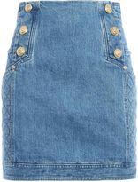 Balmain Button Detailed Denim Mini Skirt