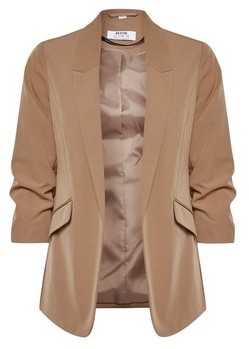 Dorothy Perkins Womens Dp Petite Camel Ruched Sleeve Jacket