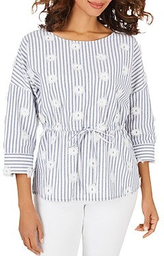 Foxcroft Marina Cotton Embroidered Top