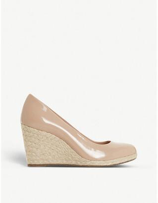 Dune Annabella patent-leather espadrille wedge sandals