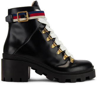 Gucci Leather Web Ankle Boots in Black & Red | FWRD