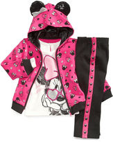 Disney Kids Set, Little Girls Minnie Mouse 3-Piece Hoodie, Top and Pants