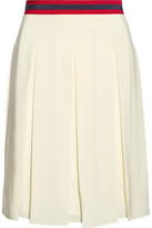 Gucci Grosgrain-trimmed Pleated Washed-silk Skirt - Ecru