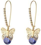 Betsey Johnson Amethyst Butterfly CZ Shepherd's Hook Earrings