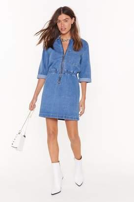 Nasty Gal Womens Bite Your Zip Denim Mini Dress - Blue - 6