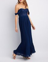 Charlotte Russe Lace Bodice Off-The-Shoulder Maxi Dress