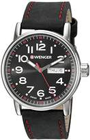 Wenger Men's 'Attitude Day/Date' Swiss Quartz Stainless Steel and Leather Casual Watch, Color:Black (Model: 01.0341.103)