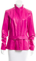 Carolina Herrera Belted Leather Jacket