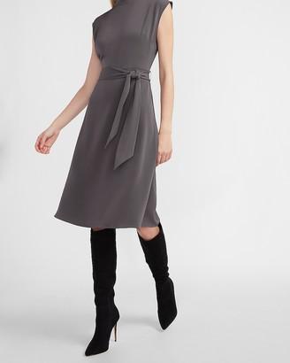 Express Mock Neck Tie Waist Midi Dress